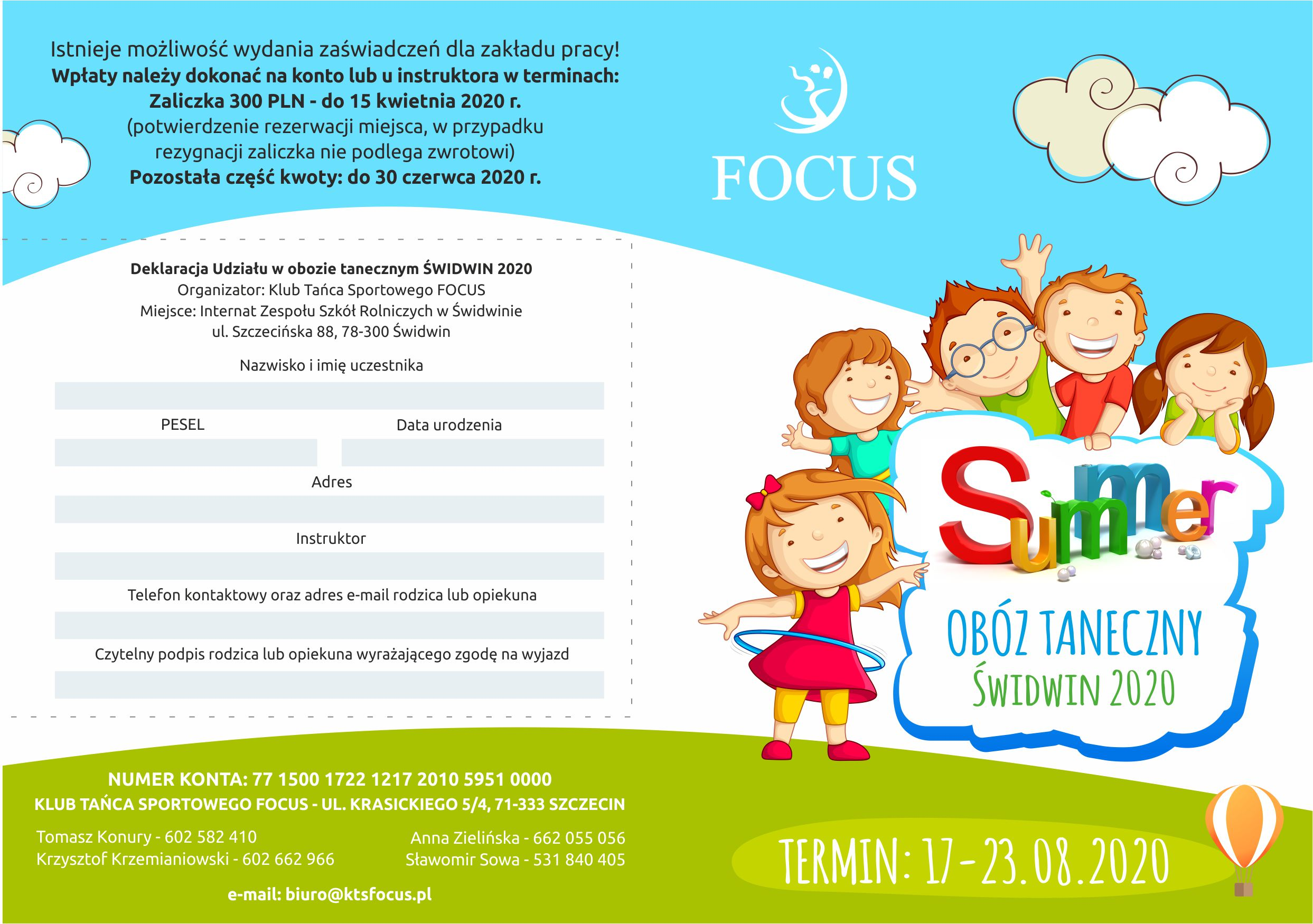 focus ulotka dla dzieci oboz